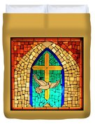 Stained Glass Window At Santuario De Chimayo Duvet Cover