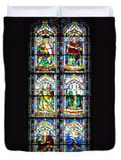 Stained Glass Window Of Santa Maria Del Fiore Church Florence Italy Duvet Cover