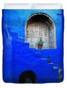 Staircase In Blue Courtyard Duvet Cover