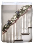 Stairs At Christmas Duvet Cover by Margie Hurwich