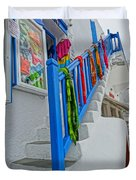 Stairs With Blue Railing In Mykonos Greece Duvet Cover