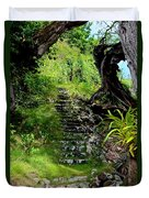 Stairway Through The Forest Duvet Cover