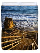 Steps To Blue Ocean And Rocky Beach Duvet Cover