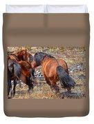 Stallions Gone Crazy Duvet Cover