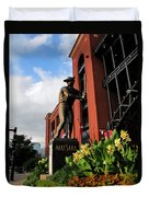 Stan Musial Statue Duvet Cover