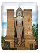Standing Buddha At Wat Mahathat In 13th Century Sukhothai Historical Park-thailand Duvet Cover