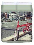 Standing Red Bike Duvet Cover