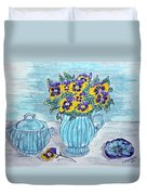Stangl Pottery And Pansies Duvet Cover