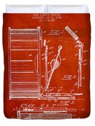 Stanton Bass Drum Patent Drawing From 1904 - Red Duvet Cover