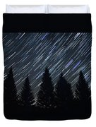 Star Trails And Pine Trees Duvet Cover