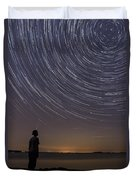 Star Trails Night Sky Landscape Vermont Lake Champlain Duvet Cover