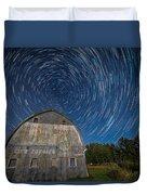 Star Trails Over Barn Duvet Cover