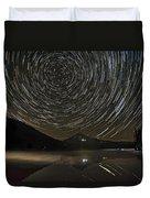 Star Trails Over Mount Hood At Trillium Lake Duvet Cover