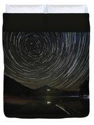 Star Trails Over Mount Hood At Trillium Lake Duvet Cover