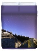 Star Trails Over Rocks In Saguenay-st Duvet Cover