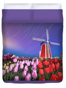Star Trails Windmill And Tulips Duvet Cover