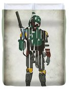 Star Wars Inspired Boba Fett Typography Artwork Duvet Cover