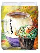 Starbucks Mug And Easter Cupcake Duvet Cover
