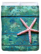 Seashore Peeling Paint - Starfish And Turquoise Duvet Cover