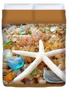 Starfish Art Prints Shells Agates Coastal Beach Duvet Cover by Baslee Troutman