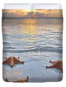 Starfish Beach Sunset Duvet Cover