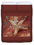 Starfish In Soft Coral Duvet Cover