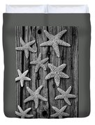 Starfish On Old Wood Black And White Duvet Cover