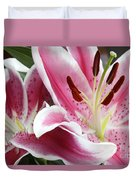 Stargazer Lily Flowers Closeup Duvet Cover