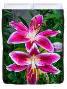 Stargazer Oriental Lilies Duvet Cover