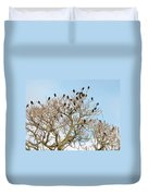 Starlings For Leaves - Sturnus Vulgaris Duvet Cover
