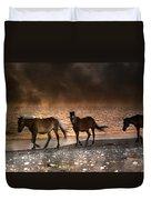 Starry Night Beach Horses Duvet Cover