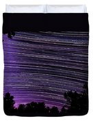 Starry Night In Ithaca New York Star Trail Photography Duvet Cover