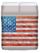 Stars And Stripes With States Duvet Cover