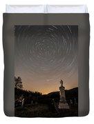 Stars Trails Over Cemetery Duvet Cover
