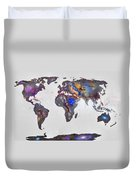 Stars World Map Duvet Cover