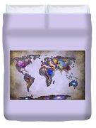 Stars World Map Space Duvet Cover