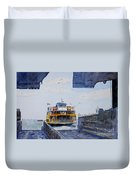 Staten Island Ferry Docking Duvet Cover