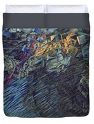 States Of Mind    Those Who Go Duvet Cover by Umberto Boccioni