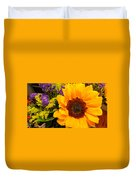 Statice And Sunflower Duvet Cover