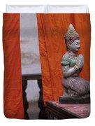 Statue At Wat Phnom Penh Cambodia Duvet Cover