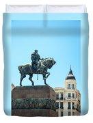 Statue In Montevideo Uruguay Duvet Cover