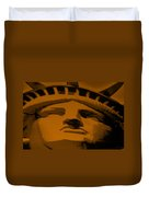 Statue Of Liberty In Orange Duvet Cover