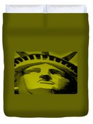 Statue Of Liberty In Yellow Duvet Cover by Rob Hans