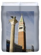 Statue Of Lion Of St. Mark And The San Marco Bell Tower Duvet Cover