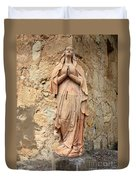 Statue Of Mary In Mission Garden Duvet Cover