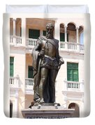 Statue Of Pedro De Heredia Duvet Cover