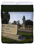 Statue Of Saint Clare Civic Center Park Duvet Cover