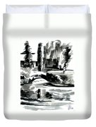 Ste Marie Du Lac Pond And Parish Duvet Cover