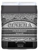 Steam Boat Willie Signage Main Street Disneyland Bw Duvet Cover