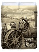 Steam Powered Tractor Sepia Duvet Cover
